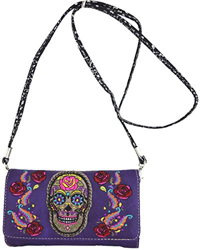 Messenger bandoulière main à wallet purple Black à Skull Sac Sac 1BxFZZ