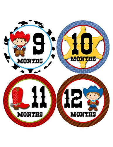 Months in Motion 341 Monthly Baby Stickers Baby Boy Months 1-12 Cowboy Western
