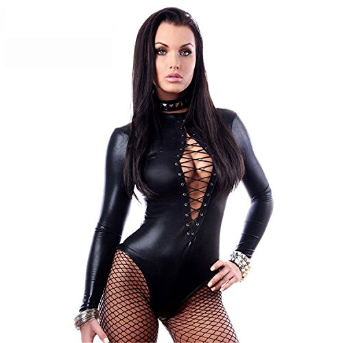 Musamk Black Wet Look Long Sleeve Bodysuit LC3263 Women Black Leather Lingerie Bodysuits Erotic Latex Catsuit Catwomen Costume as showS - Walmart Cat Ears Costume