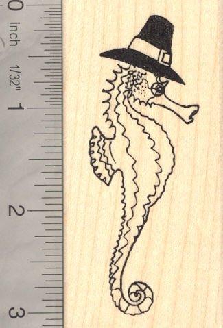 Seahorse Thanksgiving Pilgrim Rubber Stamp