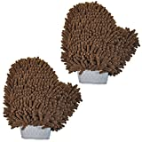 Versatile Microfiber Car Wash Mitt or Dog Bath Glove - Ultra Absorbent and Lint Free (Colors: Brown, 2 Pack) by My Doggy Place