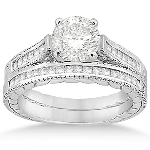 0.38 Ct Princess Diamond (Princess-Cut Prong-Set Diamond Filigree Bridal Set with Milgrain Edges in Palladium (0.38ct))