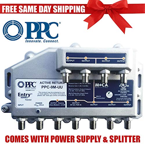 PPC Entry Series PPC-9M-U/U 9-Port Active Return Coax Cable Signal Amplifier Booster Splitter (Powered Coax Cable)