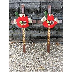 Grandma And Grandpa Cemetery Crosses, Holiday Grave Decoration 6
