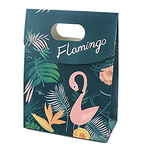 Party Favor Bags Flamingo Paper Gift Bags With Handle Fashion Paper Treat Bags for Parties Shopping Wedding Goody and Loot Bags (L) by NOBBEE (Image #6)