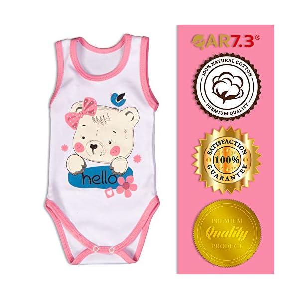 QAR7.3 Completo Vestiti Neonato 0-3 mesi - Set Regalo, Corredino da 5 Pezzi: Body, Pigiama, Bavaglino e Cuffietta (Rosa… 5