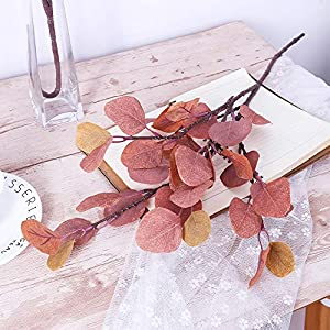 YUYAO Artificial Plants Silver Dollar Eucalyptus Leaves 6Pcs Leaf Silk Artificial Greenery Stems Fake Plants Leaves for Home Wedding Party Decoration (Maple Red) 3
