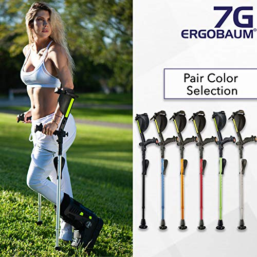 Ergobaum Prime 7TH Generation by Ergoactives. 1 Pair (2 Units) of Ergonomic Forearm Crutches - Adult 5' - 6'6'' Adjustable (Blue)