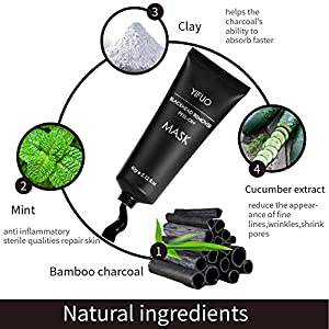 Blackhead Remover Mask,Black Mask,Deep Cleansing Anti Wrinkle Peel Off Charcoal Clay Black Mask for Acne,Blackheads,Facial Cleaning,Blemishes, Large Pores Strawberry nose.Unisex 2.12oz (60g)