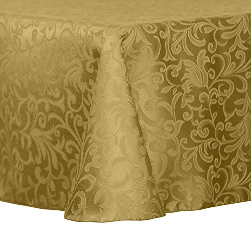 Ultimate Textile -3 Pack- Damask Somerset 70 x 104-Inch Oval Tablecloth - Scroll Jacquard Design, Gold