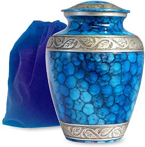 Reflections Adult Cremation Urn For Human Ashes - A Beautiful, Classic and Elegant Urn With A Warm Comforting Blue Finish For Your Cherished Remains - Includes Velvet Case