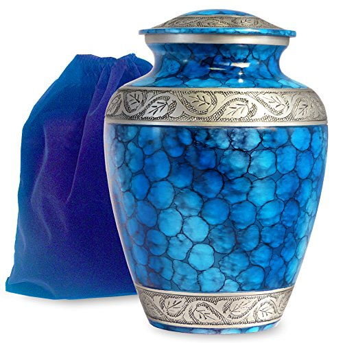 Forever Remembered Classic and Beautiful Blue Adult Cremation Urn For Human Ashes - An Elegant High Quality Large Urn with a Warm, Comforting Classy Finish To Honor Your Loved One - with Velvet Bag
