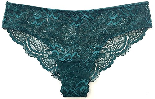 Samantha Chang Women's All Lace Classic Brief (Dark Teal, Small)