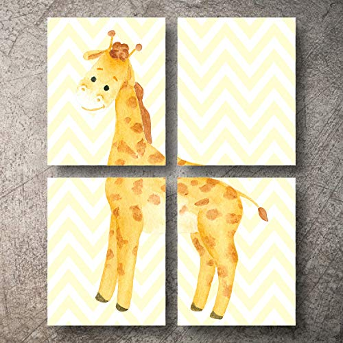 Nursery Wall Decor Safari 8X10 UNFRAMED Animal Designs Prints Wall Art Jungle Safari Girl Boy Poster Picture no Decals Animals Baby Critters Adventure Nursery Decor Wall Decorations (Giraffe-Yellow)