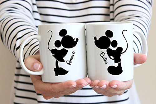 - Mickey and Minnie Mouse Coffee Mugs, Wedding Gift, Anniversary Gift, Couple's Mugs, Wedding Gift, Bride and Groom, Disney Wedding, 11oz, 15oz, gift