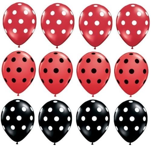 - LoonBalloon POLKA Dots BLACK RED Ladybug Minnie Mouse Dotted (12) 11