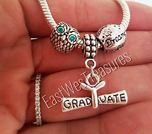 EWT Graduation Wise owl Diploma hat cap Dreams come true set Charm Pendant for Pandora bracelets and any chain necklace/ Graduation charm