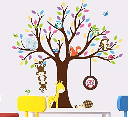 Nursery Room Wall Stickers Art Murals Decals Squirrel Tree House