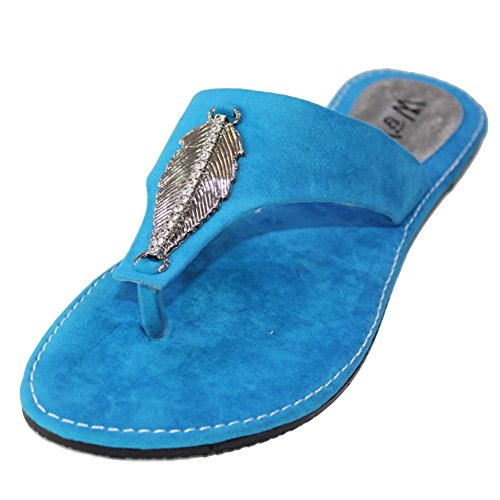W&W Women Ladies Evening Slip On Casual Flat Comfort Sandal Shoes Size Blue,Red(SAN509) Blue