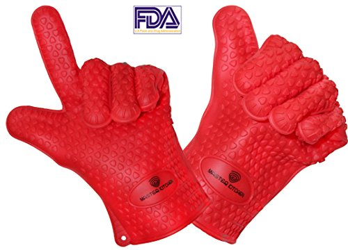 BBQ Oven Gloves - Heat Resistant Mitt for Grilling, Baking,Oven Silicone Size Medium Red Full Fingers Master Kitchen
