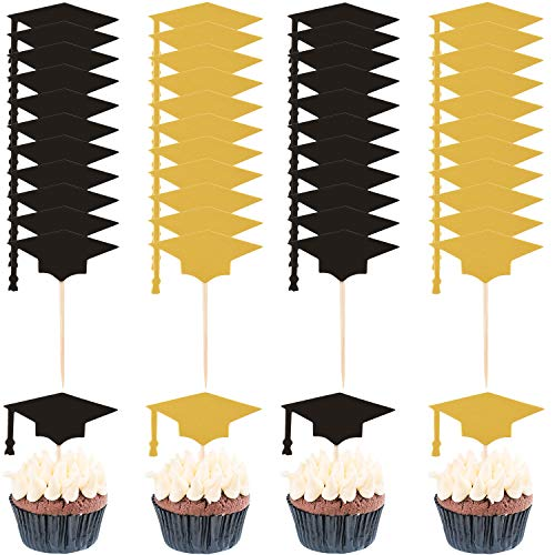 60 Sets Graduation Cake Topper Graduation Cap Toothpicks Paper Cupcake Topper Decorations for 2019 Graduation Party Supplies (Black, -