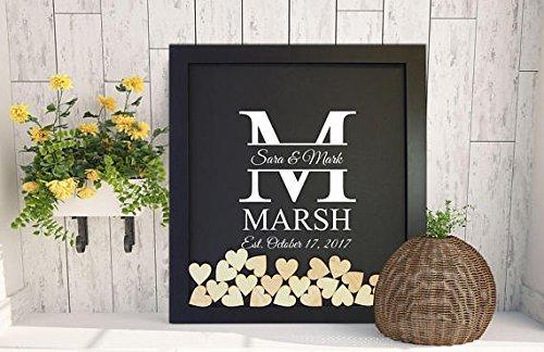Michell63Bentham wedding guestbook alternative con bordi adesivi, libro degli ospiti per matrimonio cuore Drop box, rustico libro degli ospiti matrimonio segno