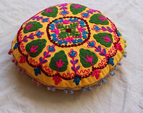 HANDICRAFTOFPINKCITY # redondo Suzani bordado funda de cojín ...