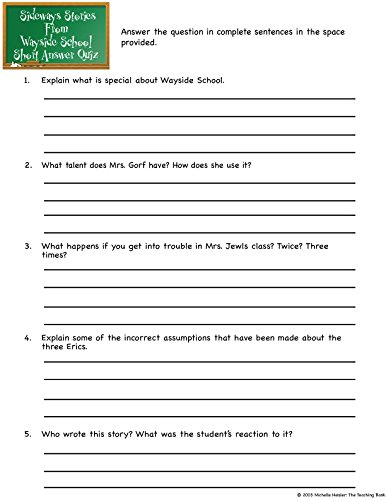 Counting Number worksheets kindergarten sentence writing worksheets : Amazon.com : Sideways Stories from Wayside School Novel Study Unit ...
