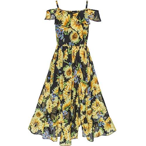 Ruffle Chest (KV11 Girls Dress Chiffon Sunflower Ruffle Cold Shoulder Maxi Dress Size 5)