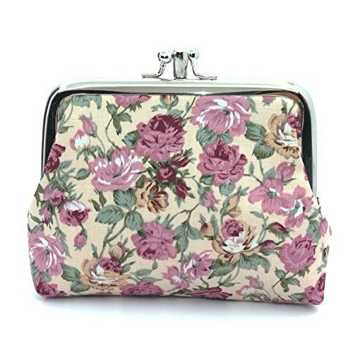Cute Floral Buckle Coin Purses Vintage Pouch Kiss-lock Change Purse Wallets (03)