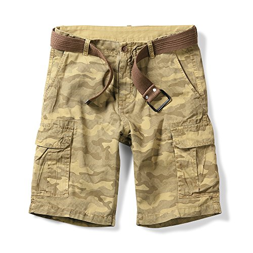 (OCHENTA Men's Lightweight Camo Pattern Cargo Shorts Yellow 31)