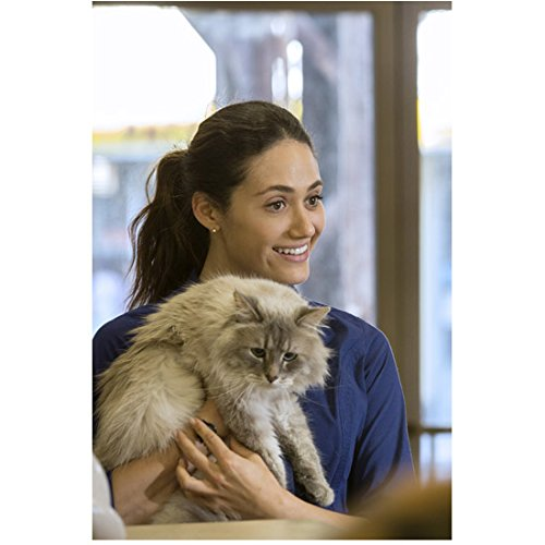Emmy Rossum 8 inch x 10 inch PHOTOGRAPH Shameless (TV Series 2011 - ) Holding Cat - The Cat Emmy