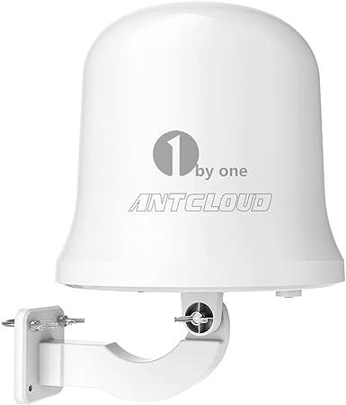 1byone antcloud exterior TV antena con Omni-Directional 360 grado recepción, amplificada 75/ático millas de interior/al aire libre/RV Digital TV ...