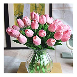 SHINE-CO LIGHTING PU Real Touch Tulips Artificial Flowers 10 Pcs Flowers Arrangement Bouquet for Home Office Wedding Decoration (Pink) 20