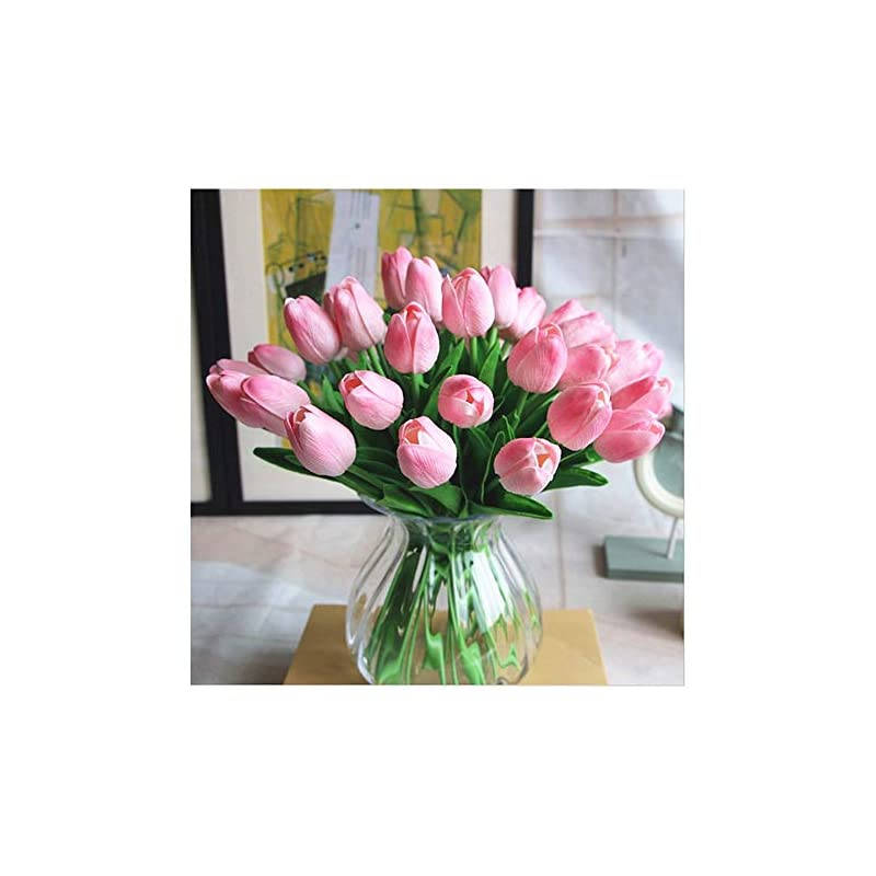 silk flower arrangements shine-co lighting pu real touch tulips artificial flowers 10 pcs flowers arrangement bouquet for home office wedding decoration (pink)