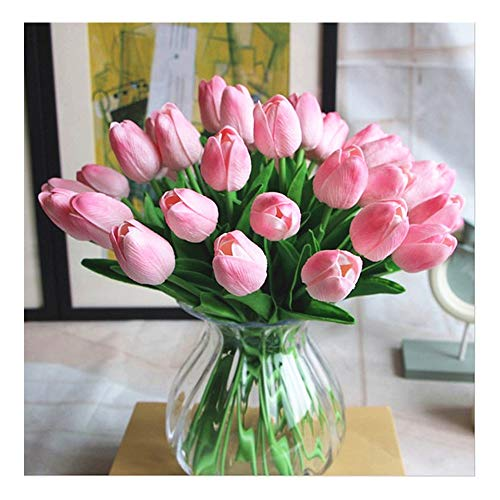 SHINE-CO LIGHTING PU Real Touch Tulips Artificial Flowers 10 Pcs Flowers Arrangement Bouquet for Home Office Wedding Decoration - Pink Flower Tulip