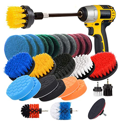 JUSONEY Drill Brush Scrub Pads 31 Piece Power Scrubber Cleaning Kit - All Purpose Cleaner Scrubbing Cordless Drill for Cleaning Pool Tile, Sinks, Bathtub, Brick, Ceramic, Marble, Auto, Boat