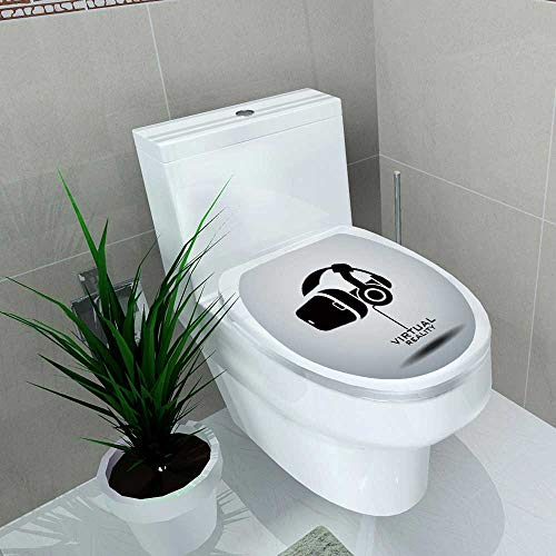 Decal Wall Art Decor Virtual Reality Headset icon Vector icon Design Black White Toilet Decoration W14 x L16