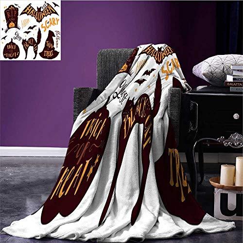 RenteriaDecor Vintage Halloween Digital Printing Blanket Halloween Symbols Trick or Treat Bat Tombstone Ghost Candy Scary Print Artwork Dark Brown Orange Bed or Couch 90