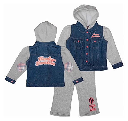 Harley-Davidson Girls Baby Glitter Print Fleece Hooded Denim Jog Set (24M)