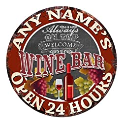 Any Name's Any Text Wine BAR Open 24 Hours Custom Personalized Chic Tin Sign Rustic Shabby Vintage Style Retro Kitchen Bar Pub Coffee Shop Man cave Decor Gift Ideas