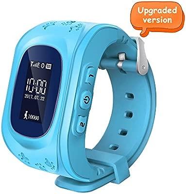 Witmoving Childrens Smartwatch Reloj Infantil Pulsera Inteligente GPS Rastreador Localizador SOS Llamada para Android IOS (Azul)
