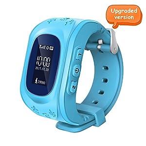 Witmoving Enfants Montre GPS Tracker Téléphone Anti-perte SOS Poignet Bracelet pour IOS Android Smartphones (Bleu)