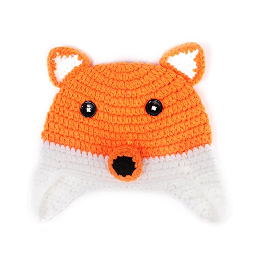 Elee Baby Handmade Crochet Knit Animal Hat Beanie Warm Earflap Photograph Props (1 Fox)