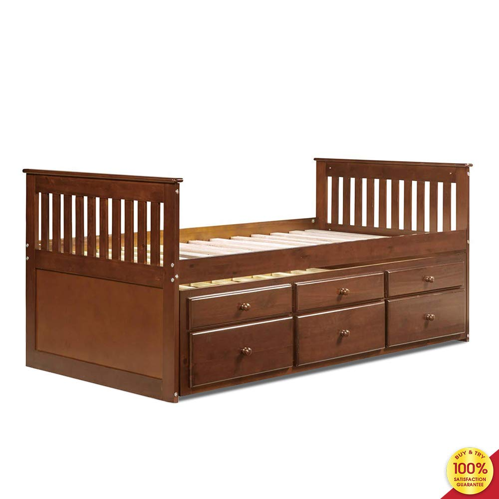 Platform Captain's Twin Daybed with Trundle Bed and Storage Drawers, Brown by Hooseng