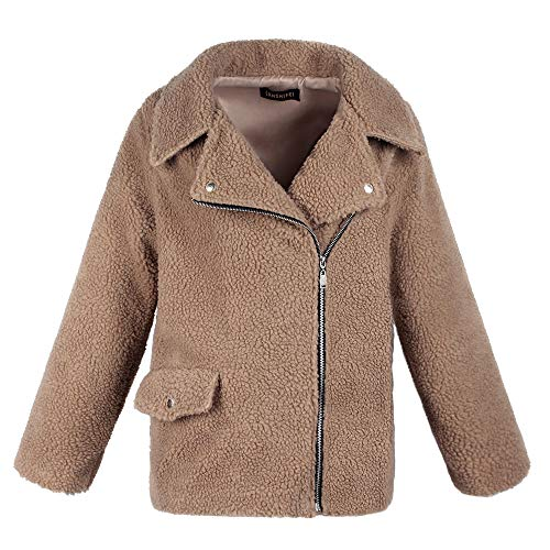 Veste Dames avec Zipper GreatestPAK Manteau Chaud Vtements Turn Down Kaki Femmes Hiver en Artificielle Parka Collar Laine Poche f6qBPXR