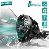 Car Fan, Car Air Vent Clip Fan, 2200 mAh Rechargerable Battery powered fan