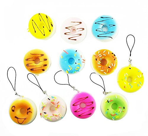 yueton Pack of 5 Kawaii Donut Squishy Bread Cell Phone Charms Key Chains Straps (Randomly Styles Sent) ()