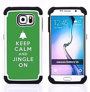"""Pulsar ( Mantenga tintineo encendido Campanas de Navidad verde"""" ) Samsung Galaxy S6 / SM-G920 SM-G920 híbrida Heavy Duty Impact pesado deber de protección a los choques caso Carcasa de parachoques"""