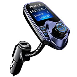 Victsing Bluetooth Fm Transmitter, Wireless In-car Radio Transmitter Adapter W Usb Port, Support Aux Input 1.44 Inch Display Tf Card Slot - Blue